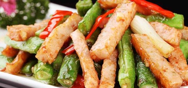四季豆炒肉卷