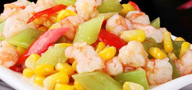 玉米莴笋炒虾仁
