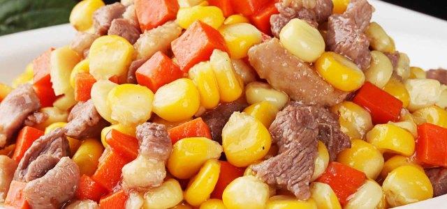 玉米粒炒鸭肉