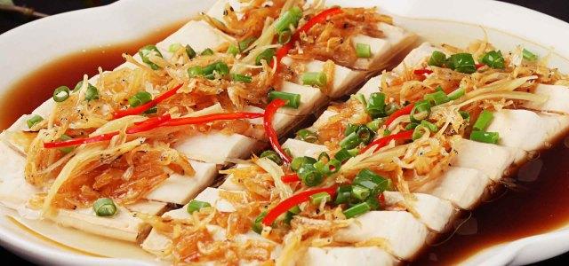 银鱼虾干蒸豆腐