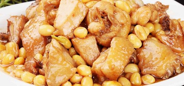 黄豆焖鸡肉
