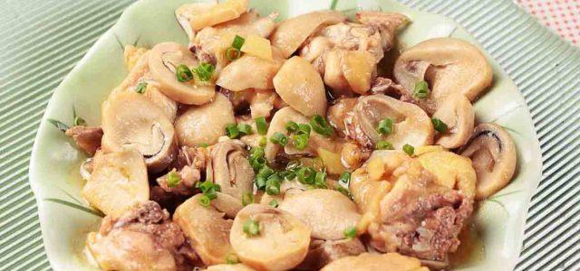 草菇蒸鸡肉