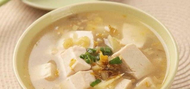 雪菜末豆腐汤