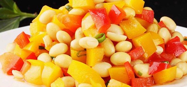 彩椒拌黄豆