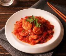 西红柿干烧虾仁